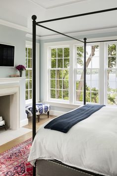 The Master Bedroom is anchored by a cut stone fireplace and vaulted ceiling Vaulted Ceiling Bedroom, Floor To Ceiling Windows, Bedroom Windows, Vaulted Ceilings, Bedroom Fireplace, Living Room With Fireplace, Colonial Cottage, Colonial Bedroom, Modern Colonial