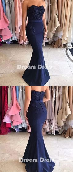 Dark blue lace mermaid long prom dresses, bridesmaid dresses,PD290025 #promdresses #shopping #fashion #dresses #evening