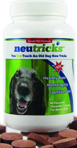 Neutricks is a new, evidence-based, scientifically proven calcium binding protein (CaBP) that aids in the treatment of CDS. The active ingredient, Apoaequorin, has been proven to protect brain cells by 50% during and after ischemia. Neutricks has proved effective in clinical trials and in independent laboratory research studies using senior dogs in which it was shown to significantly improve learning and accuracy as well as to enhance attention.