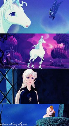 """The Last Unicorn """"Molly, who am I? Why am I here? What is it that I am seeking in this strange place...day after day..?""""-Lady Amalthea"""