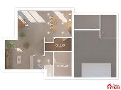 Plan du rez-de-chaussée du modèle Gulliver (étage, style contemporain). Surface : 125m² + 49.69 m² surface annexe Architecture, Bathroom Lighting, Mirror, Furniture, Home Decor, Butler Pantry, Contemporary Style, Diner Kitchen, Arquitetura