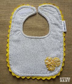 Baby Shower Gift   Gray & Yellow Baby Bib with Yellow Yo-Yos and Ric Rac by Button Baby   $10.00