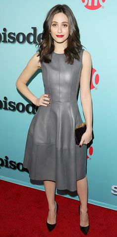 Emmy Rossum celebrated a new season of Showtime's Shameless in a J. Mendel leather dress and burgundy accessories.