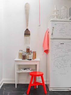 pop of colour, kitchen spaces, giant forks.