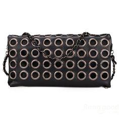 Circle Chain Black Women Clutch Bag