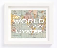 The World is your Oyster Vintage World Map Globe Typography Motivational Poster Print Wall Art Children Kid's Baby Nursery Room Office Decor by CheekyAlbi, $12.00