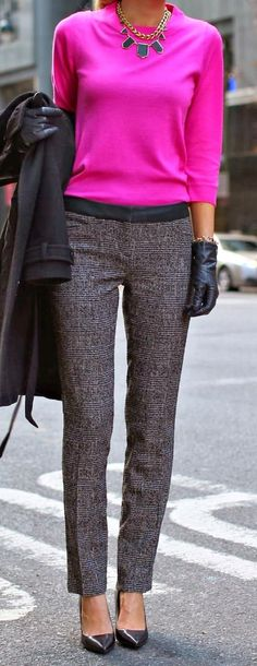 Bright top, textured slacks, heels, chunky jewelry in a contrasting color. ~ 50 Great Fall Outfits On The Street - Style Estate -