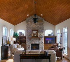 """Ceilings and Ceiling Tile Systems by Armstrong : WoodHaven"" Drop ceiling that looks like wood!!!!!!!"
