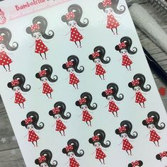 Who is going to Disneyland this winter?❤️Minnie ears planner stickers, custumizable hair styles and color♥They work great in planners like Erin Condren Life Planner, Mambi Happy planner, Plum Paper Planner, your personal planners, bullet journals, tn's etc etc etc :)