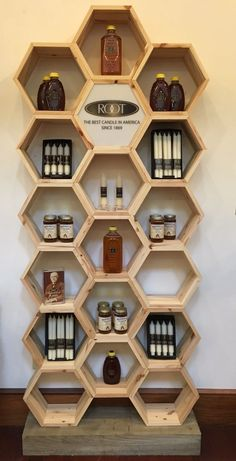 This is an amazing craft or farmer's market display for honey and candles! -