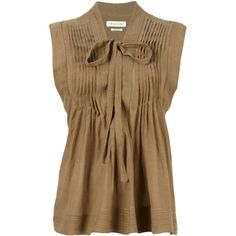 """Isabel Marant Étoile """"Kenny"""" Top ($200) ❤ liked on Polyvore featuring tops, kaki, v-neck tops, shirred top, brown top, v neck sleeveless top and ruched sleeveless top"""