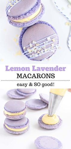 These Lemon Lavender Macarons are so easy and tasty. The buttercream filling recipe is the perfect combination of tangy and sweet flavors in two perfect and delicate bites. Lemon Recipes, Baking Recipes, Cake Recipes, Dessert Recipes, Sweet Recipes, Macarons Easy, Lavender Macarons, Easy Gluten Free Desserts, Homemade Desserts