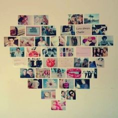 Fotos em formato de coração coladas na parede...