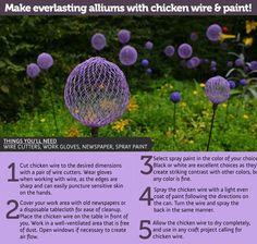 Chicken wire alliums for the garden. Pretty.