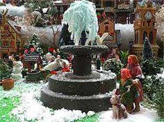 Model fountain photo, with birds