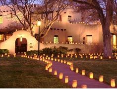 One of the reasons I fell in love with NM. (Luminarias) If Gabe come home from deployment at night Im gonna do this for him! <3