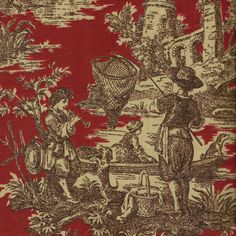 red toile fabric -I like this one too!