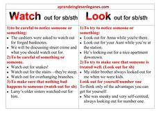 """B2 FIRST/ GRAMMAR /CAMBRIDGE ENGLISH EXAMS Difference between """"Watch out for"""" and """"Look out for"""". Have a look at this grammar sheet to learn how to use these two phrasal verbs. Advanced English Grammar, English Exam, English Vocabulary, Learn English, Cambridge English, Used Watches, English Words, Ielts, Language"""