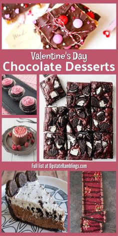 Valentine's Day Chocolate Desserts - I love chocolate! This collection of chocolate desserts is perfect for treating your sweetheart on Valentine's Day. Includes ideas for the best chocolate cake, pie, cupcakes, cookies, tarts and more. #chocolate #valentine via @upstramblings