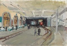 Varlin (Willy Guggenheim) Swiss Bahnhof in Montreux oil on canvas laid down on hardboard Oil On Canvas, Urban, Painting, Art, Switzerland, Kunst, Art Background, Painted Canvas, Painting Art