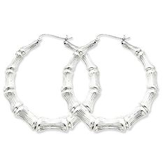 Sterling Silver Bamboo Hoop Earrings 173 in x 169 in *** Details can be found by clicking on the image.