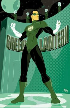 Awesome Illustrated Posters Of DC's Superhero Team 'Justice League' by Mike Mahle Dc Heroes, Comic Book Heroes, Comic Books Art, Comic Art, Comic Pics, Book Art, Green Lantern Hal Jordan, Green Lantern Corps, Green Lanterns