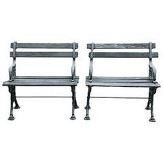 Early 20th Century Pair of Cast Iron and Wood Garden Benches