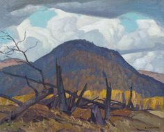 """Alfred Joseph Casson (Canadian Group of Halfway Lake"""", oil on panel, painted 1950 at Mayberry Fine Art Group Of Seven Artists, Group Of Seven Paintings, Emily Carr, Canadian Painters, Canadian Artists, Nature Paintings, Cool Paintings, Tom Thomson Paintings, Ontario"""