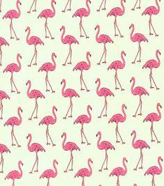 CREAM FLAMINGOS or BOWS STRETCH COTTON fabric DRESSMAKING flamingo NAVY