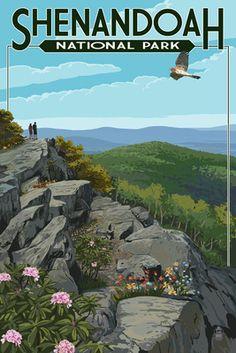 Shenandoah National Park, Virginia - Hikers & Hawk - Lantern Press Poster