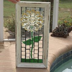 Stained Glass Mosaic Yellow Plate Flower Federal by ARTfulSalvage