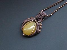 Aventurine Pendant, Copper Necklace, Wire Wrapped Pendant, Yellow Aventurine, Wire Wrapped Jewelry, Dainty Pendant