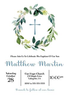 New baby boy baptism invitations etsy 18 Ideas Baptism Invitation For Boys, Christening Invitations Boy, First Communion Invitations, First Communion Party, First Holy Communion, Recuerdos Primera Comunion Ideas, Baptism Party Decorations, Baby Girl Baptism, Baby Boy Christening