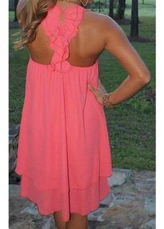 Sexy Round Neck Neon Pink Straight Chiffon Dress
