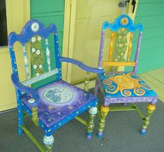 Hand Painted Whimsical Chairs by Bill Leaseburg--I think this is similar to how the bentwood chairs will be done.