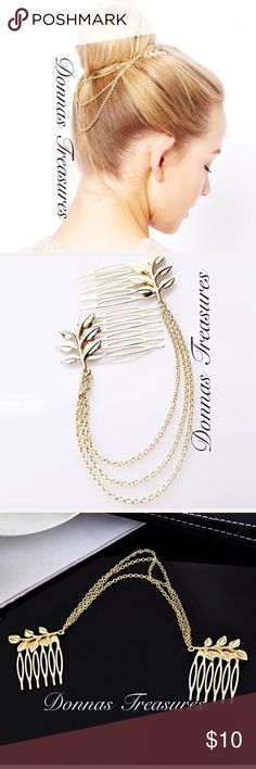 "❄️Gold Comb & Chain Hair Accessory These combs are made of nickel free gold alloy. They measure 1.75"" from top to bottom & 1.5"" from side to side & have 6 teeth. They're embellished with leaves & connected by 3 chains to allow for a variety of styles. A beautiful statement! #1086 Accessories Hair Accessories"