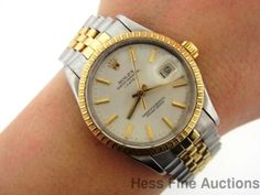 Vintage 15053 Mens Rolex Oyster Perpetual Date 18k Gold Stainless Steel Watch