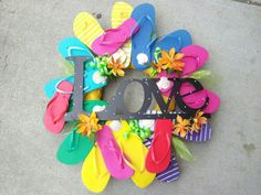 A flip flop wreath my manager clay made this weekend at work! They've been flying off the shelves! <3 Fairfield Flowers in Virginia beach