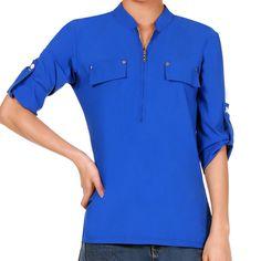 Fashion Women Elegant Stand Neck 3/4 Sleeve Shirt Casual Fake Pocket Zipper Career Shirt Tops Blouse Spring/ Summer