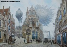 Punking The Past: The Steampunk Aesthetic Of Victorian London In Superb Paintings Of Vadim Voitekhovitch Ville Steampunk, Steampunk City, Steampunk Kunst, Steampunk Design, Steampunk Artwork, Gothic Steampunk, Steampunk Necklace, Steampunk Clothing, Steampunk Fashion