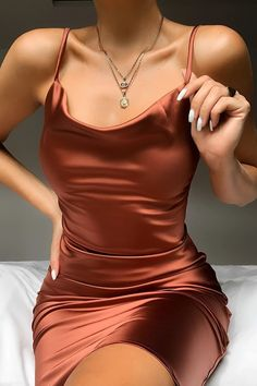 Plunge Neck Satin Mini Dress Women's Online Shopping Offering Huge Discounts on Dresses, Lingerie , Jumpsuits , Swimwear, Tops and More. Satin Mini Dress, Satin Dresses, Elegant Dresses, Pretty Dresses, Sexy Dresses, Dress Outfits, Fashion Dresses, Formal Dresses, Silk Dress