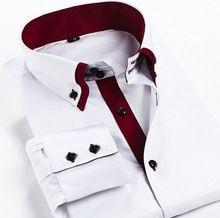 2015 yeni erkek elbise gömlek markası Camisa masculina sosyal slim fit erkek gömlek uzun kollu çift yaka spor gömlek s- xxxl(China (Mainland))
