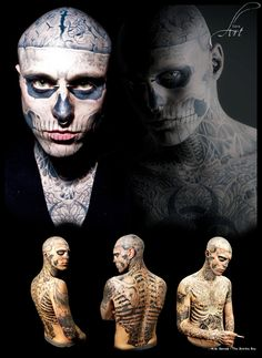 Rick Genest Face Tattoos, Boy Tattoos, Tatoos, Inked Men, Inked Guys, Rick Genest, Grace Neutral, Tattoo People, Monami Frost