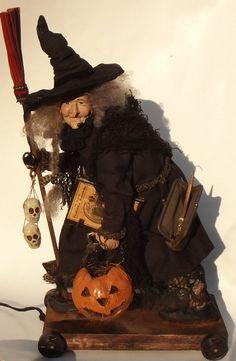 Kim's Klaus~OoaK Witch~Handmade Folk Art  Doll~Antique Vintage Halloween~Cat #KimsKlaus