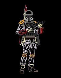 After those great Star Wars font posters, Fabian Gonzalez came up with his own version with one of the coolest characters in Star Wars, Boba Fett. Font Art, Typography Art, Star Wars Boba Fett, Star Wars Rebels, Star Trek, Geeks, Amour Star Wars, Star Wars Font, Books