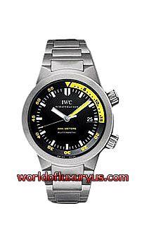 IWC - AQUATIMER AUTOMATIC MEN'S WATCH - IW353803 (TITANIUM / BLACK DIAL, YELLOW MARKINGS / TITANIUM BRACELET)