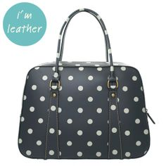 Luxe leather finish, classic charcoal spot. The smart choice for an everyday bag that'll go the distance.   £95   #CathKidston