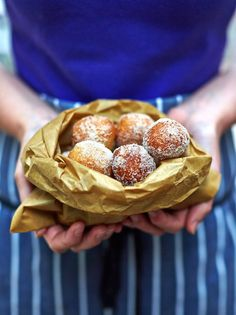 Mini vegan doughnuts with a quick raspberry dip - from Jamie Oliver! Yum!