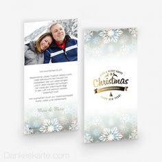 Weihnachtskarte Eiskristalle 10 x 21 cm - Dankeskarte.com Cover, Frame, Thanks Card, Snow Flakes, Xmas Cards, Thoughts, Picture Frame, Frames