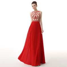Long Red High Neck Sleeveless Crystal Beaded Chiffon Ruched Prom Dress